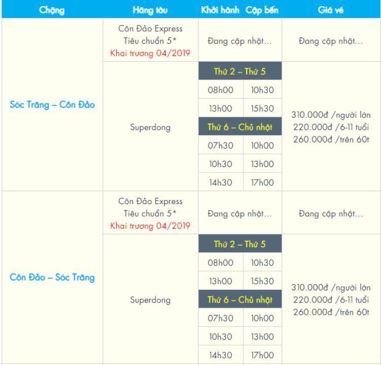 Giá vé đi Sóc Trăng - Côn Đảo